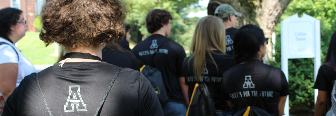 Upward Bound student participants in matching Appalachian t-shirts, seen from behind